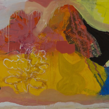 On New Year's morning the moon fell into McGinty's pond, mixed media on paper, 78 x 106cm